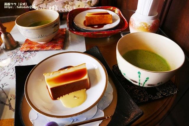 旧茶屋亭のプリンと抹茶